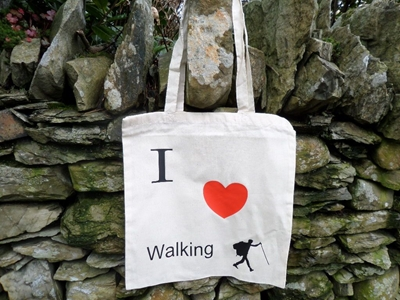 Picture of I love walking shopping bag