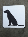 Picture of Sitting black labrador coaster